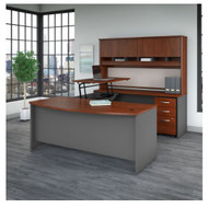 "Bush Business Furniture Series C Executive U-Shaped Bowfront Desk 72"" with Height Adjustable Bridge Hansen Cherry - SRC129HCSU"