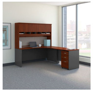 "Bush Business Furniture Series C Executive L-Shaped Desk 72"" with Hutch and Storage Package Hansen Cherry Right - SRC087HCSU"