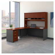 "Bush Business Furniture Series C Executive L-Shaped Desk 72"" with Hutch and Storage Package Hansen Cherry Left - SRC088HCSU"