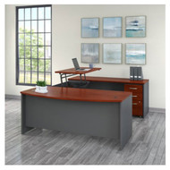 "Bush Business Furniture Series C Executive U-Shaped Desk with Height Adjustable Bridge Package 72"" Hansen Cherry - SRC130HCSU"