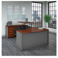 "Bush Business Furniture Series C Executive U-Shaped Bow Front Desk 60"" with Height Adjustable Bridge Left Package Hansen Cherry - SRC121HCSU"