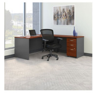 "Bush Business Furniture Series C Executive L-Shaped Desk Package 72"" with Mid-Back Chair - SRC132HCSU"