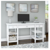 "Bush Broadview Collection 60"" Desk with Storage Shelves and Drawers - BDD160WH-03"