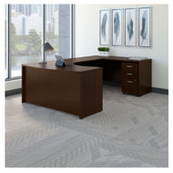 "Bush Business Furniture Series C Executive U-Shaped Desk 60"" Right Mocha Cherry - SRC089MRSU"