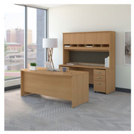 "Bush Business Furniture Series C Executive Bow Front Desk Package 72"" Light Oak - SRC082LOSU"