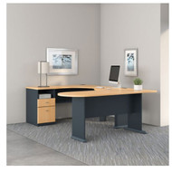 Bush Business Furniture Series A U-Shaped Desk with Peninsula Beech - SRA037BE