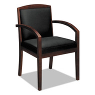 HON Basyx Wood Guest Chair, Black Leather with Mahogany Wood - VL853NSB11
