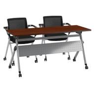 Bush Business Furniture Folding Training Table w 2 Folding Chairs 60W x 24D - FTR001HC