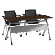 Bush Business Furniture Folding Training Table w 2 Folding Chairs 60W x 24D Mocha Cherry - FTR001MR