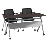 Bush Business Furniture Folding Training Table w 2 Folding Chairs 60W x 24D Storm Gray - FTR001SG