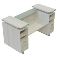 Mayline Safco Mirella Reception Desk with Glass Counter Top White Ash - MRRD78WAH