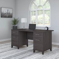 Bush Furniture Somerset 60W Office Desk with Drawers in Storm Gray - WC81528K