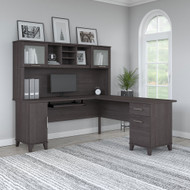 Bush Furniture Somerset 72W L Shaped Desk with Hutch Storm Gray - SET001SG
