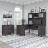 Bush Furniture Somerset 60W L Shaped Desk w Hutch w Lateral File Cabinet Storm Gray - SET008SG