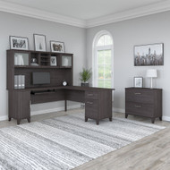 Bush Furniture Somerset 72W L Shaped Desk w Hutch and Lateral File Cabinet Storm Gray - SET009SG