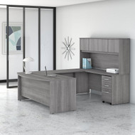 "Bush Business Furniture Studio C Bow Front U-Shaped Desk with Hutch 72"" Platinum Gray - STC003PG"
