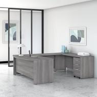"Bush Business Furniture Studio C Bow Front U-Shaped Desk Package 72"" Platinum Gray - STC004PGSU"