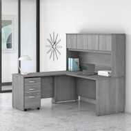 "Bush Business Furniture Studio C Desk L-Shaped Package 72"" Platinum Gray - STC006PGSU"
