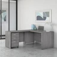 "Bush Business Furniture Studio C Desk L-Shaped Package 60"" Platinum Gray - STC008PGSU"