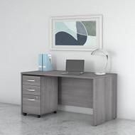 "Bush Business Furniture Studio C Desk with 3-Drawer Mobile Pedestal 60"" Platinum Gray - STC014PGSU"
