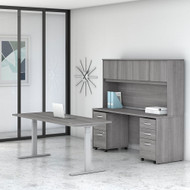 "Bush Business Furniture Studio C Desk and Height Adjustable Standing Desk Package 72"" Platinum Gray - STC016PGSU"