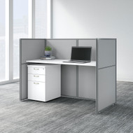 "Bush Business Furniture Easy Office 60""W Desk w File Cabinet and 45""H Closed Panels Workstation - EOD260SWH-03K"