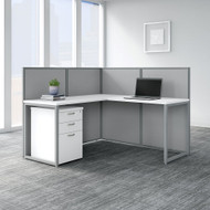 "Bush Business Furniture Easy Office 60""W L-Shaped Desk w File Cabinet and 45""H Panels - EOD360SWH-03K"
