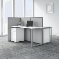 Bush Business Furniture Easy Office 60W 2 Person Cubicle Desk with File Cabinets and 45H Panels - EOD460SWH-03K