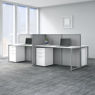 "Bush Business Furniture Easy Office 60""W 4 Person Desk w File Cabinets and 45""H Panels - EOD660SWH-03K"