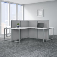 "Bush Business Furniture Easy Office 60""W 4 Person L Shaped Desk Workstation with 45""H Panels - EOD760WH-03K"