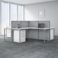 Bush Business Furniture Easy Office 60W 4 Person L Shaped Desk w Drawers and 45H Panels - EOD760SWH-03K