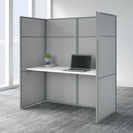 Bush Business Furniture  Easy Office 60W Desk with 66H Closed Cubicle Panel and File Cabinet Pure White - EODH26SWH-03K