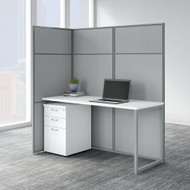 Bush Business Furniture Easy Office 60W Cubicle Desk with File Cabinet and 66H Open Panels Workstation - EODH16SWH-03K