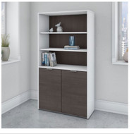 Bush Business Furniture Jamestown 5-Shelf Bookcase White and Storm Gray - JTB136SGWH