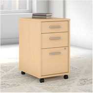Kathy Ireland by Bush Method Collection 3-Drawer Mobile Pedestal ASSEMBLED Natural Maple - KI70303SU