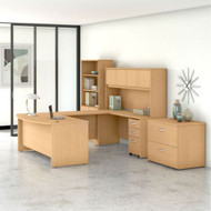 Bush Business Furniture Studio C Bow Front U-Shaped with Storage Package Natural Maple - STC001ACSU
