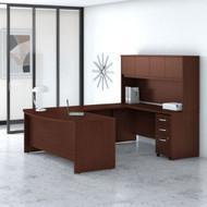 "Bush Business Furniture Studio C Bow Front U-Shaped Desk with Hutch 72"" Harvest Cherry - STC003CSSU"