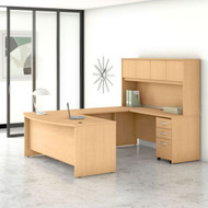 """Bush Business Furniture Studio C Bow Front U-Shaped Desk with Hutch 72"""" Natural Maple - STC003ACSU"""