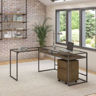 "Bush Anthropology Glass Top L-Shape Desk 60"" Package - ATH021RB"