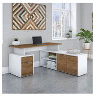 "Bush Business Furniture Jamestown 60"" L-Shaped Desk Package - JTN021FWWHSU"