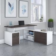 "Bush Business Furniture Jamestown 60"" L-Shaped Desk Package - JTN021SGWHSU"