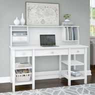 "Bush Broadview 60""W Desk w Storage Shelves and Hutch - BD009WH"