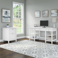 """Bush Broadview 60""""W and File Cabinet Desk Package - BD011WH"""