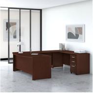 "Bush Business Furniture Studio C Bow Front U-Shaped Desk Package 72"" Harvest Cherry - STC004CSSU"