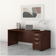 "Bush Business Furniture Studio C Desk with 3-Drawer Mobile Pedestal 60"" Harvest Cherry - STC014CSSU"