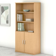 "Bush Business Furniture Studio C Bookcase 5-Shelf with Doors 36"" Natural Maple - STC015AC"