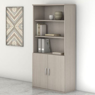 "Bush Business Furniture Studio C Bookcase 5-Shelf with Doors 36"" Sand Oak - STC015SO"
