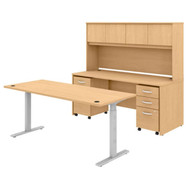 "Bush Business Furniture Studio C Desk and Height Adjustable Standing Desk Package 72"" Natural Maple - STC016ACSU"