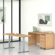 """Bush Business Furniture Studio C Desk and Height Adjustable Standing Desk Package 60"""" Natural Maple - STC017ACSU"""