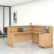 Bush Business Furniture Studio C L-Shaped Reception Desk Natural Maple - STC040ACSU